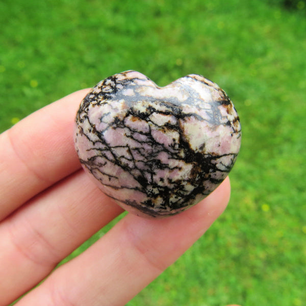Pink & Black Rhodonite Puffy Heart 1.25"