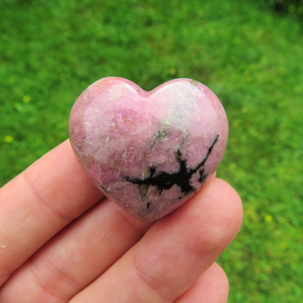 Pink Rhodonite Crystal Heart - Puffy Stone Heart