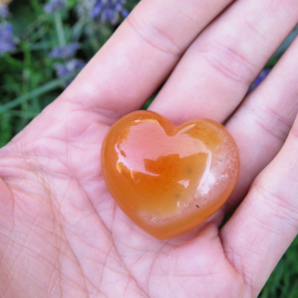 Orange Carnelian Puffy Heart 1.25"