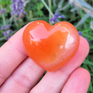 Puffy Carnelian Crystal Heart Stone