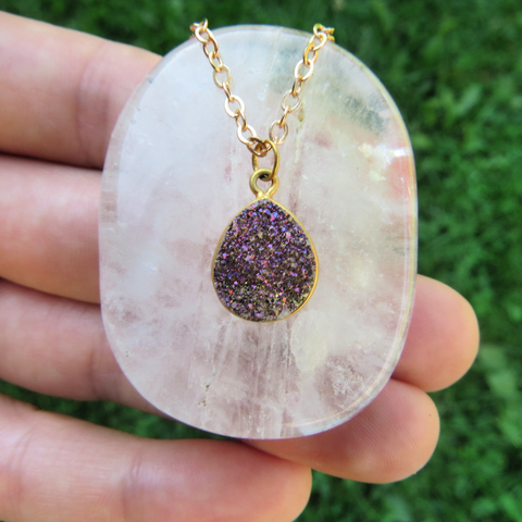 Purple Druzy Necklace in Gold - Rainbow Druzy Jewelry