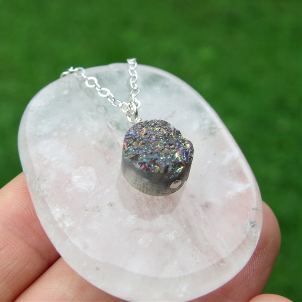 Rainbow Druzy Necklace | Rainbow Quartz Crystal Necklace | Druzy Jewelry