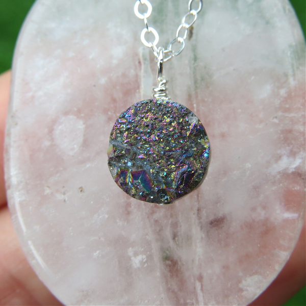 Rainbow Druzy Necklace - Rainbow Quartz Crystal Necklace