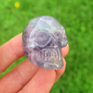 Rainbow Fluorite Crystal Skull Figurine - Small 1.5""