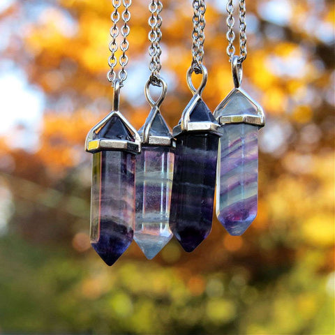 Rainbow Fluorite Necklace - Crystal Point Necklace Silver