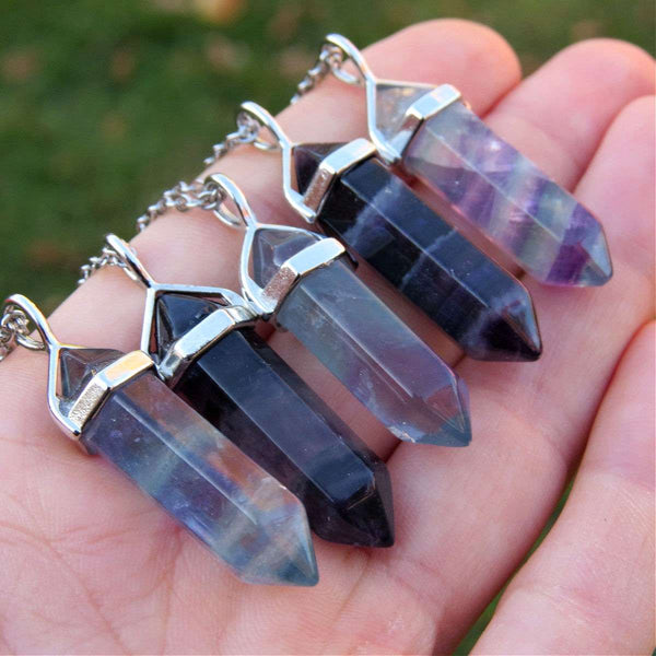 Rainbow Fluorite Necklace | Crystal Point Necklace | Fluorite Jewelry