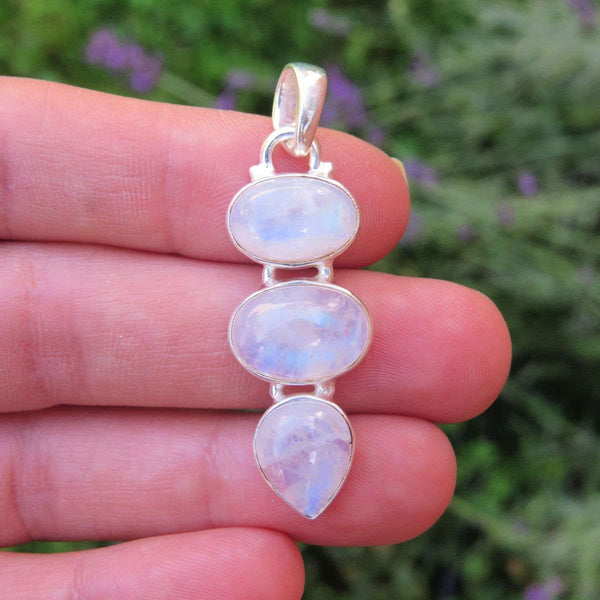Rainbow Moonstone Pendant Sterling Silver 3 Stone
