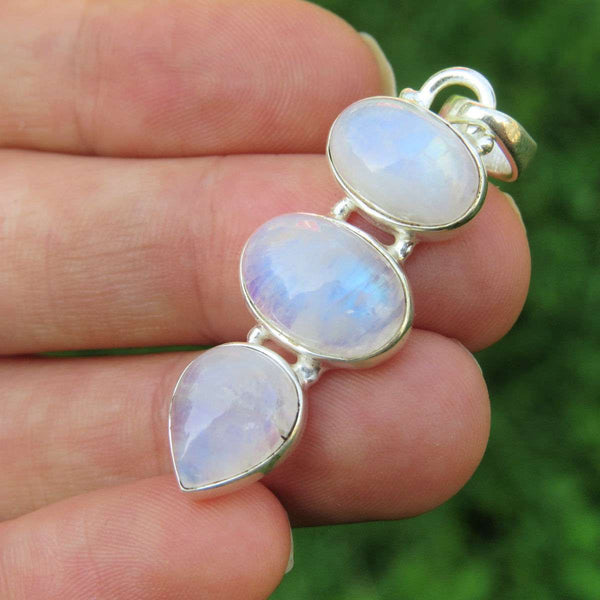 Rainbow Moonstone Crystal Pendant - Sterling Silver