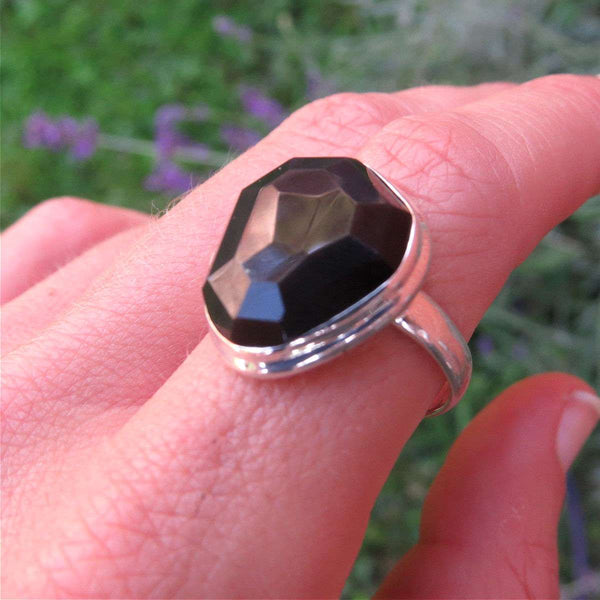 Rainbow Obsidian Ring Sterling Silver Size 8.75 | Black Stone Ring