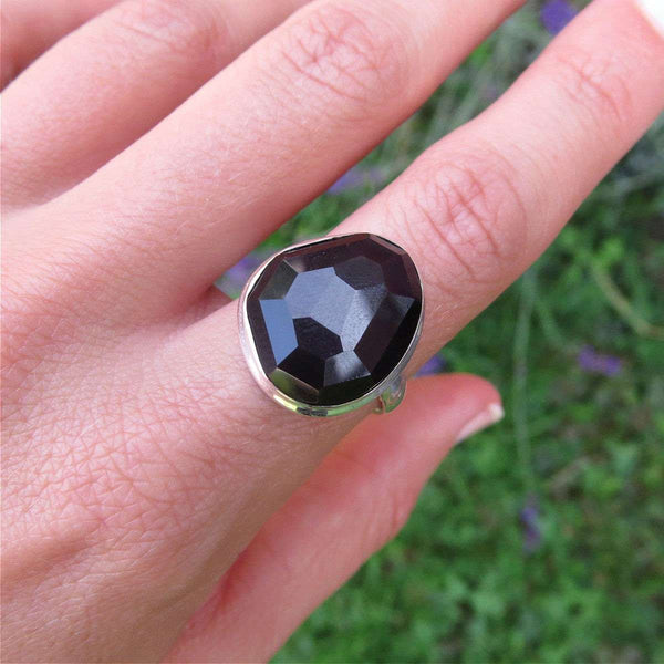 Rainbow Obsidian Ring - Sterling Silver Crystal Ring - Black Stone