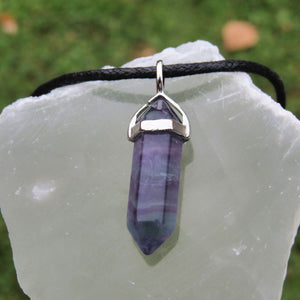 Rainbow Fluorite Necklace - Crystal Point Necklace Black Cord Necklace for Men
