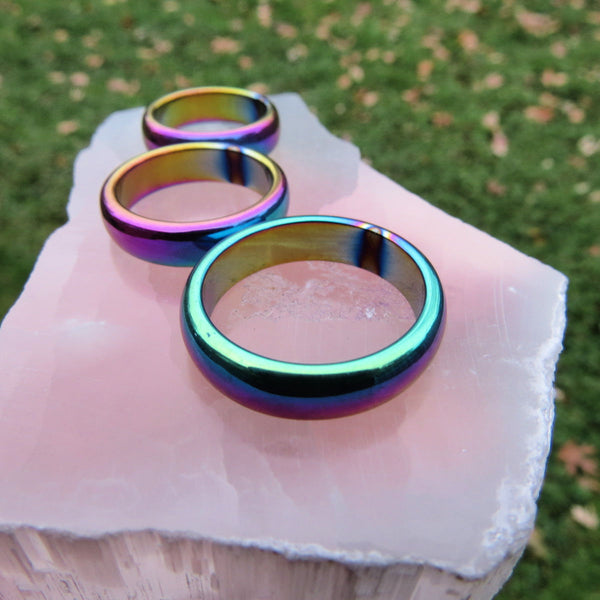 Rainbow Hematite Ring | Titanium Rainbow Aura Crystal Band Ring