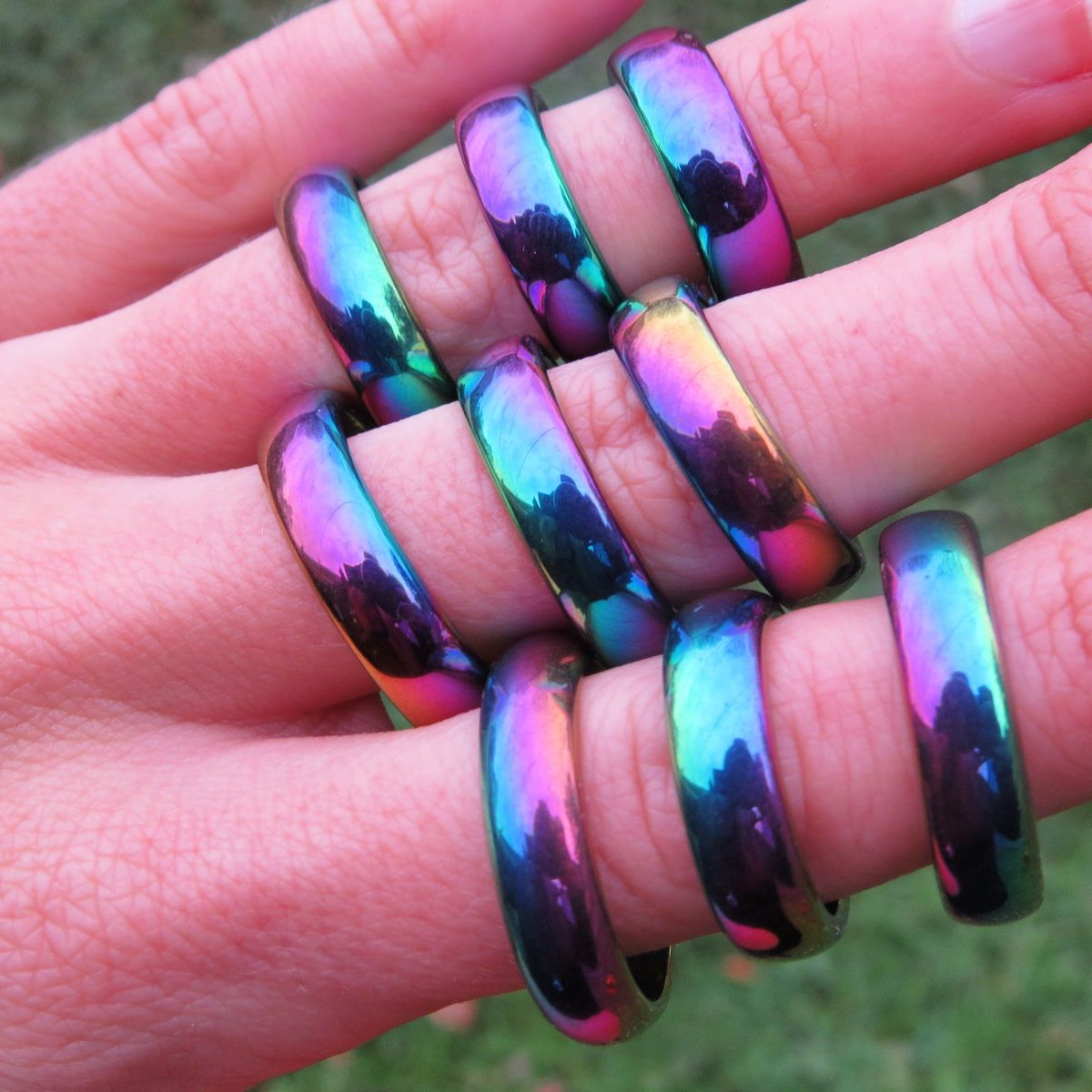 Rainbow Hematite Ring - Rainbow Aura Crystal Ring