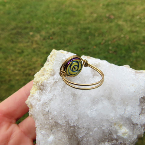 Crystal Rainbow Rose Ring | Wire Wrapped Rainbow Hematite Stone Flower Ring