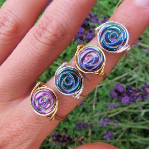 Crystal Rainbow Rose Ring - Wire Wrapped Hematite Stone Flower Ring