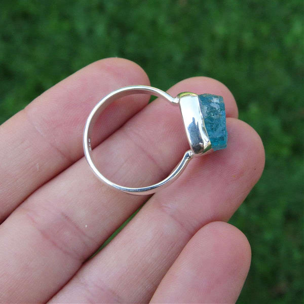 Raw Apatite Ring in Sterling Silver | Aqua Blue Stone Ring Size 8.25 US