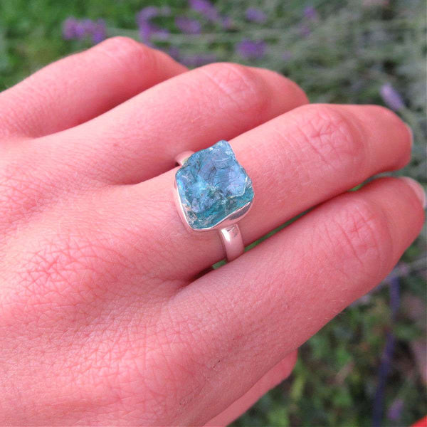 Raw Apatite Ring - Sterling Silver - Blue Apatite Crystal Ring