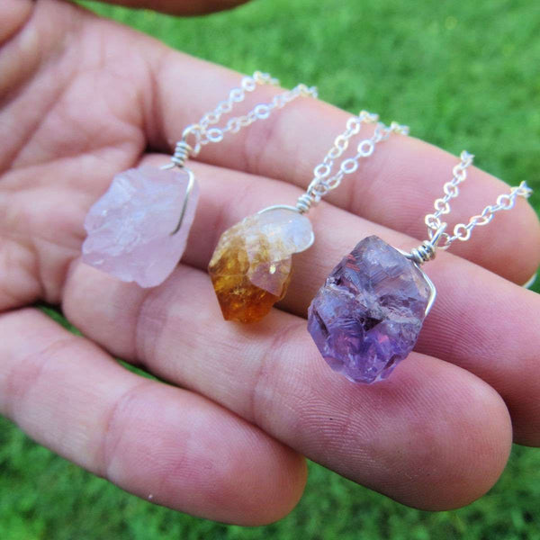 Raw Crystal Necklace in Sterling Silver | Amethyst, Rose Quartz, & Citrine