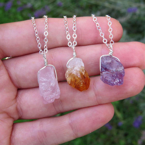 Raw Crystal Necklace in Sterling Silver - Rose Quartz, Citrine, Amethyst