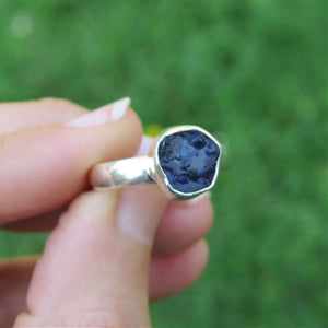 Raw Blue Sapphire Ring Sterling Silver