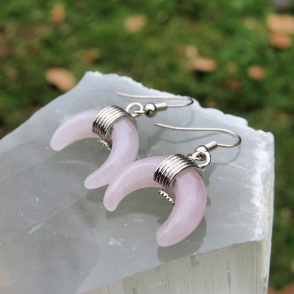 Rose Quartz Crystal Crescent Moon Earrings | Half Moon Jewelry