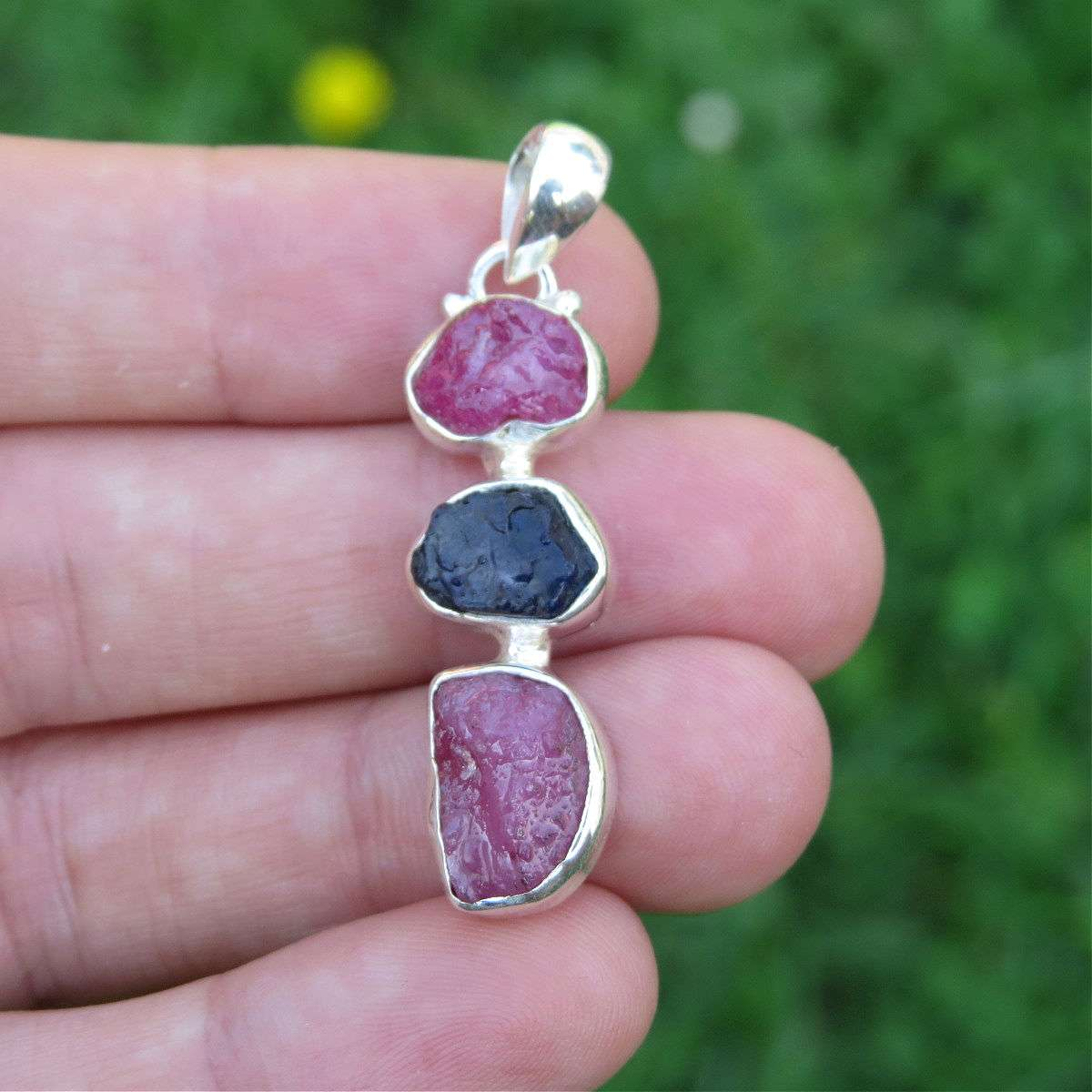 Ruby & Sapphire Raw Stone Pendant in Sterling Silver
