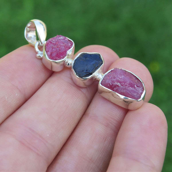 Raw Ruby & Sapphire Pendant Sterling Silver 3 Stone Pendant
