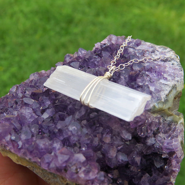 Large Selenite Wand Crystal Necklace in Sterling Silver