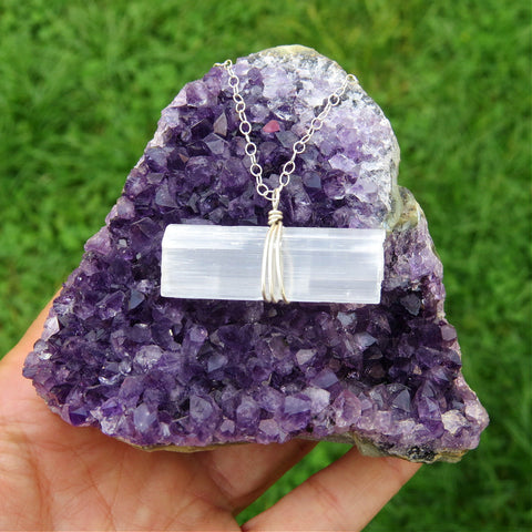 Selenite Wand Crystal Necklace in Sterling Silver