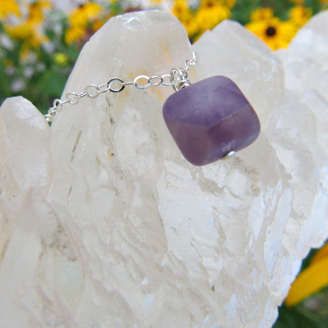 Amethyst Crystal Necklace - Square Stone - Side