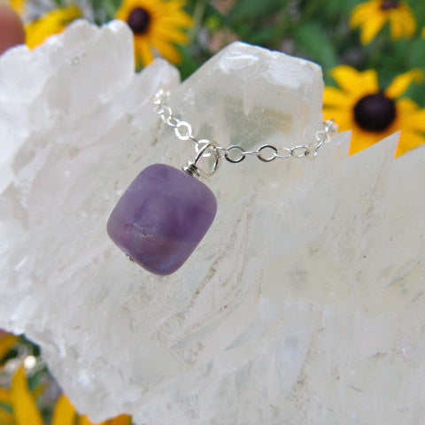 Amethyst Crystal Necklace - Square Stone - Side 2