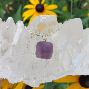 Small Amethyst Crystal Necklace - Square Stone