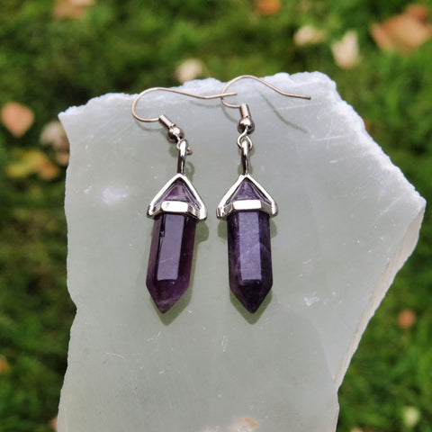 Small Crystal Point Earrings - Purple Amethyst Earrings in Silver