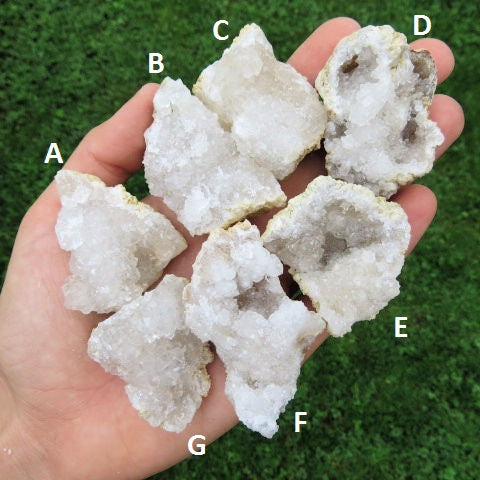 "White Druzy Quartz Geode Stone | Small 1.5"" Cracked Crystal Geodes"