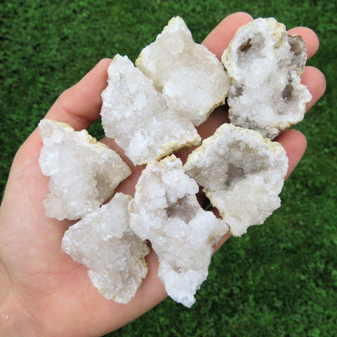 Cracked White Druzy Quartz Geodes - Small
