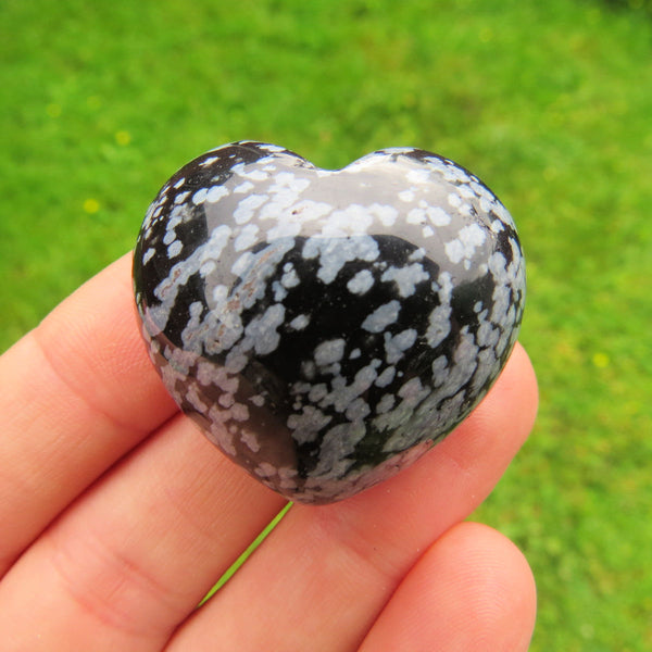 Snowflake Obsidian Carved Crystal Heart Stone - Spotted Black/White Stone Heart