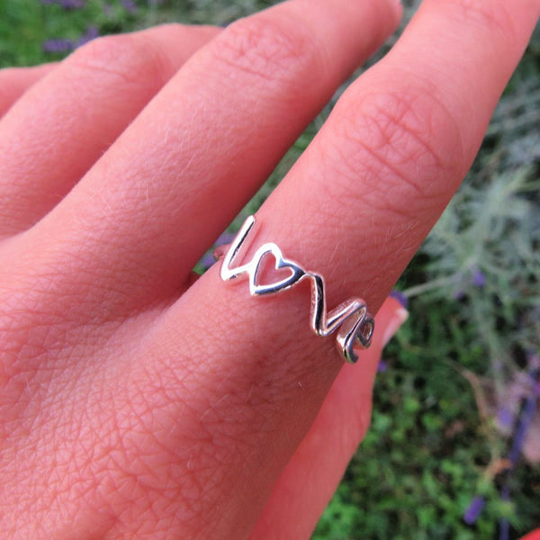 Sterling Silver Love Ring on Model
