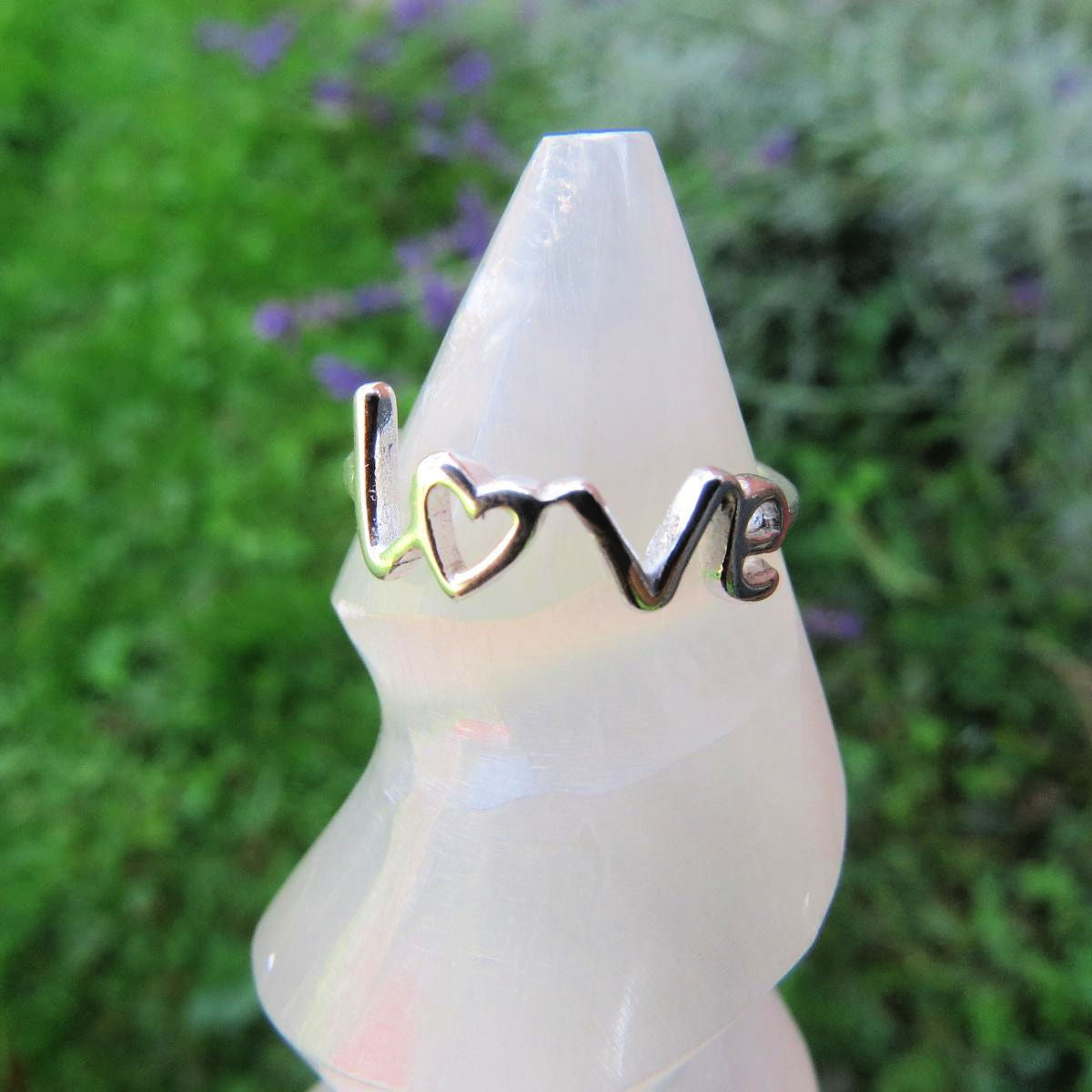 Sterling Silver Love Ring - Love Word Ring