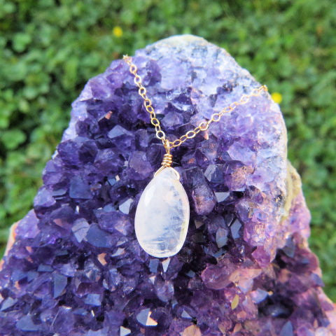 Rainbow Moonstone Necklace - Gold Chain - Faceted Teardrop Stone