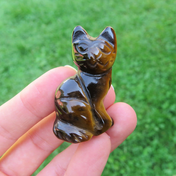 Carved Stone Cat Crystal Figurine - TIgers Eye Crystal Animal