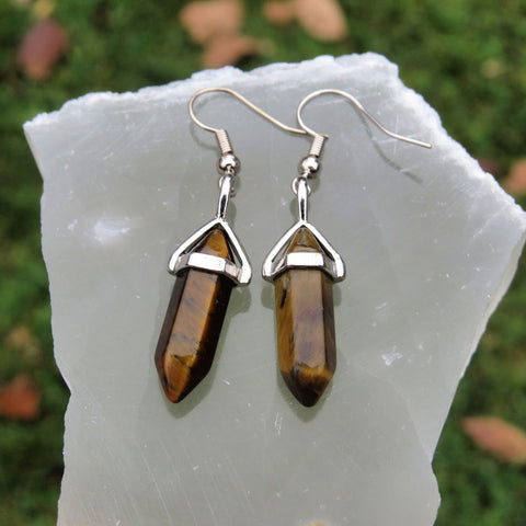 Tigers Eye Earrings in Silver | Crystal Point Healing Stone Earrings