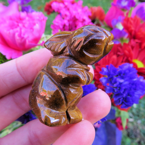 Carved Stone Rabbit Crystal Figurine | Brown Tigers Eye Bunny Animal Statue
