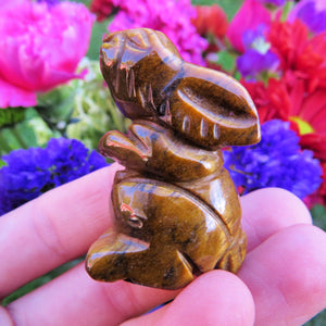 Tigers Eye Carved Stone Rabbit Crystal Figurine | Brown Stone Rabbit Statue