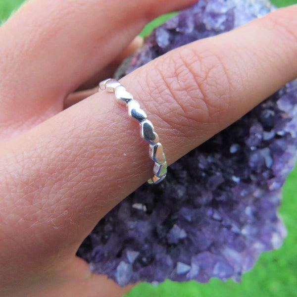 Sterling Silver Heart Ring - Connected Heart Band