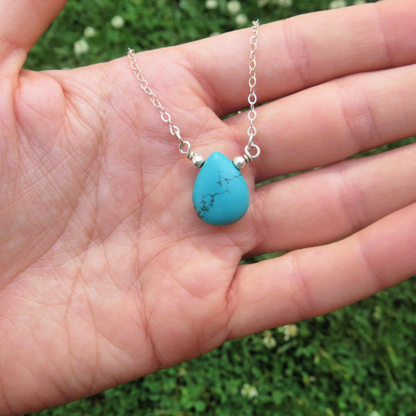 Turquoise Blue Howlite Crystal Necklace