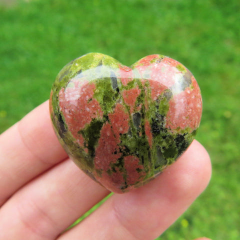 Unakite Carved Crystal Heart Stone - Pink/Green Puffy Heart Crystal