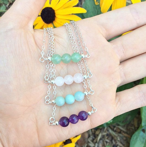 3 Stone Beaded Crystal Necklace - Amethyst, Rose Quartz, Aventurine, Amazonite