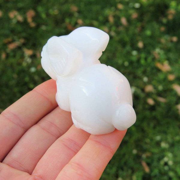 Agate Carved Stone Rabbit Crystal Figurine - White Rabbit Crystal Animal Carving