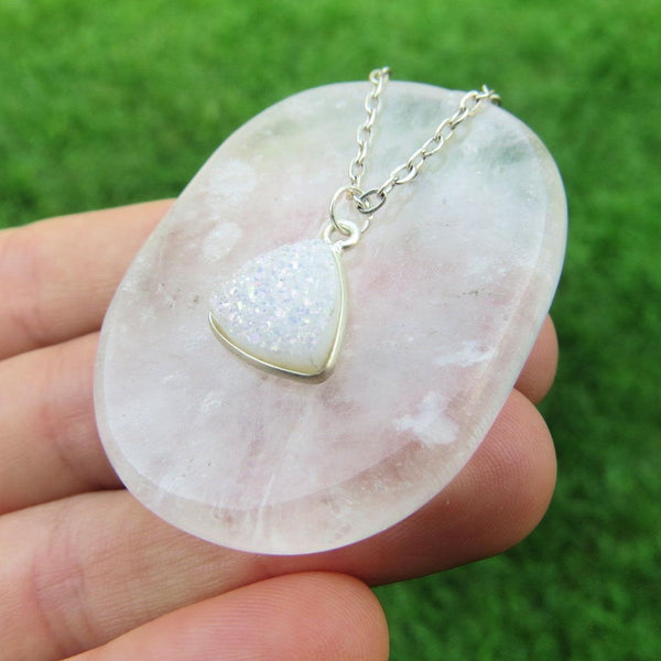 White Druzy Necklace | Angel Aura Quartz Crystal Necklace