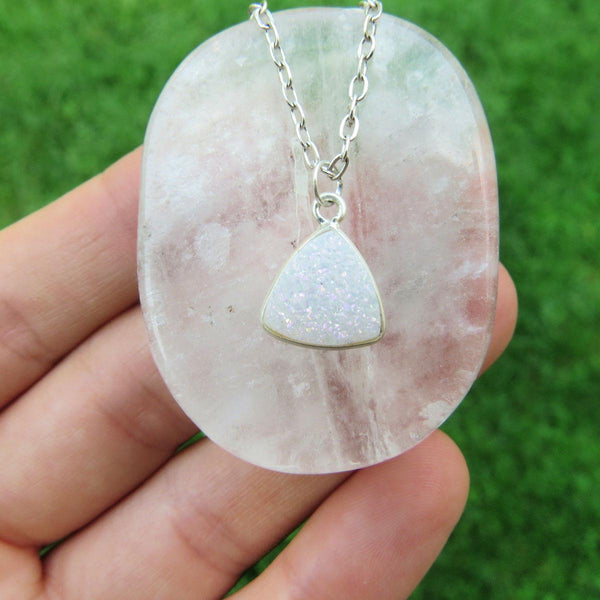 White Druzy Necklace - Angel Aura Quartz Necklace